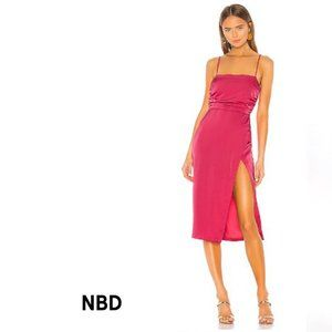 NWT NDB Satin Pink Sage Midi Dress Medium